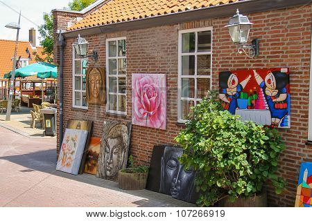 Art Souvenir Shop On The Street Kerkstraat In Zandvoort, The Netherlands.