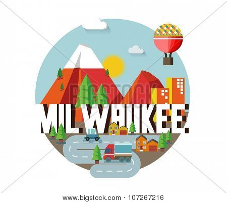 Milwaukee city logo in colorful vector