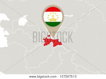 Tajikistan On World Map