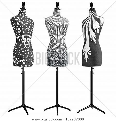 Female mannequins on tripod with patterns
