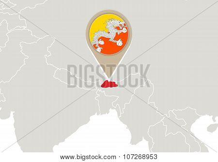 Bhutan On World Map