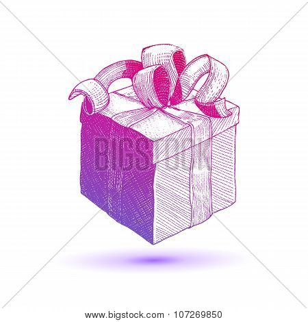 Bright colors vector Gift Box with ribbon