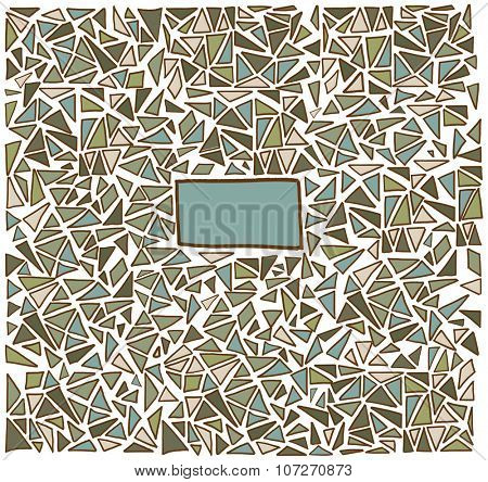 Triangle pattern background. Hand drawn illustration with copy space. Graphical and geometric concept with place for text. Pattern for covers, paper, fabric or web