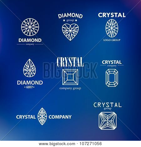 Vector diamond logo set.