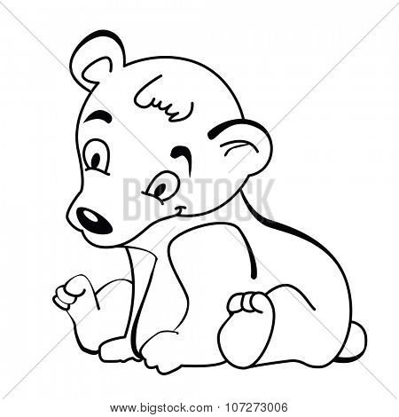 simple black and white cute little bear cartoon