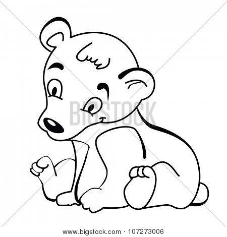 simple black and white cute little bear cartoon