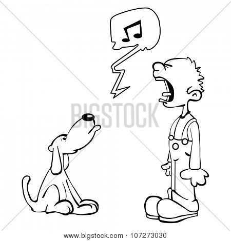 simple black and white boy and dog singing cartoon