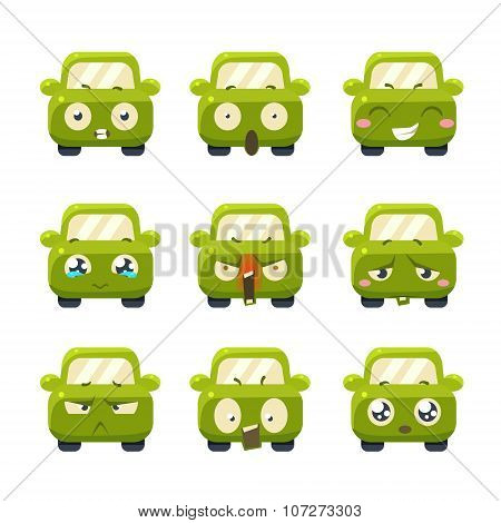 Funny Cars with Emoticons. Vector Set