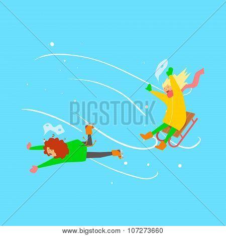 Girls Sledging. Winter Vector Illustration