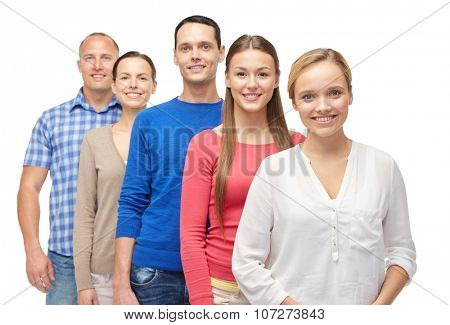 family, gender and people concept - group of men and women