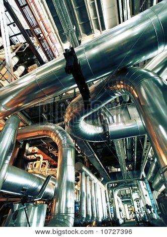 Industrial Zone, Steel Pipelines In Insulation