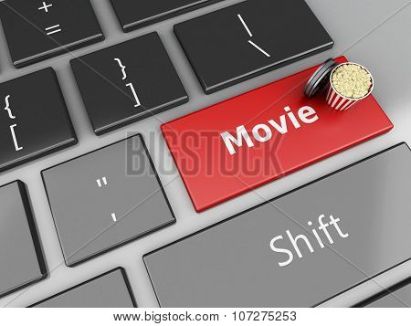 3D Popcorn And Film Reel On Computer Keyboard.