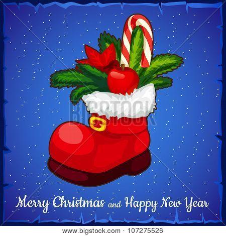 Red Shoe Santa closeup with cane lollipop