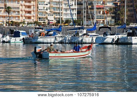 Boats and yachts in Fuengirola harbour.