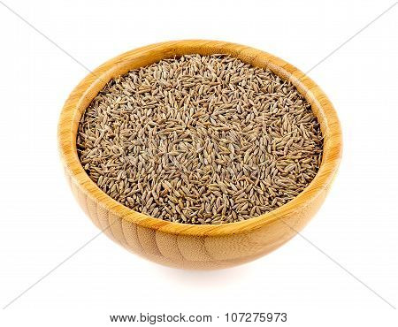Whole Cumin Seed In A Bowl Isolated On White