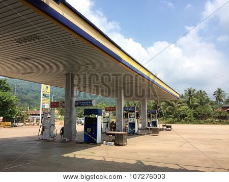 A petrol station in Vientiane, Laos