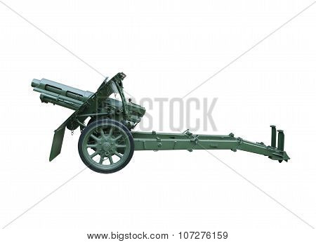 Artillery gun isolated over white