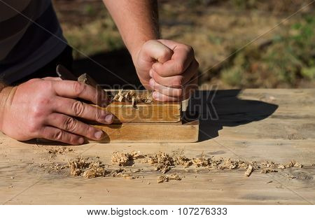 Hands Of A Carpenter Planed Wood Jack-planes, Work On Nature