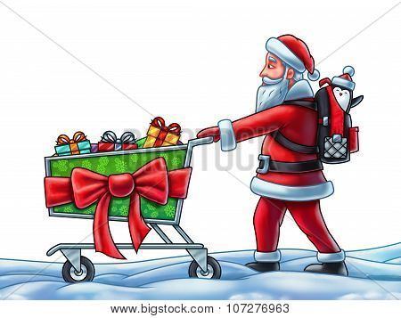 Santa Claus Pushing A Shopping Cart