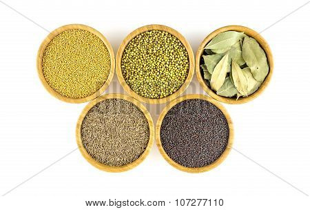 Collection Of Vegetarian Spices And Herbs On White