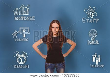 girl dissatisfied face angry and put his hands on her waist thum