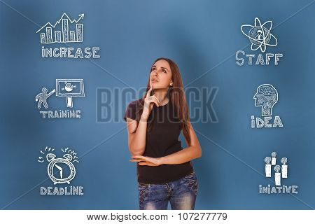 girl looking up wondered sketch icons set business strategy