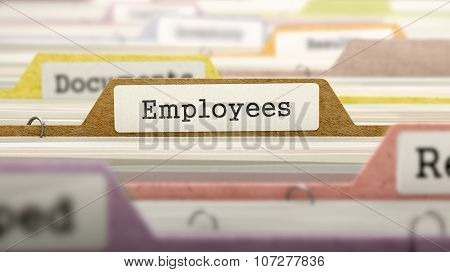 Employees Concept on File Label.