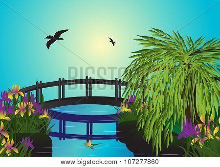 bridge and flowers.