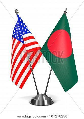 USA and Bangladesh - Miniature Flags.