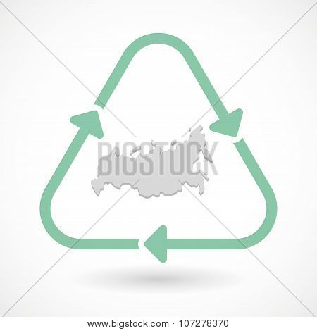 Line Art Recycle Sign Vector Icon With  A Map Of Russia