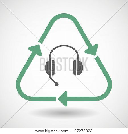Line Art Recycle Sign Vector Icon With  A Hands Free Phone Device