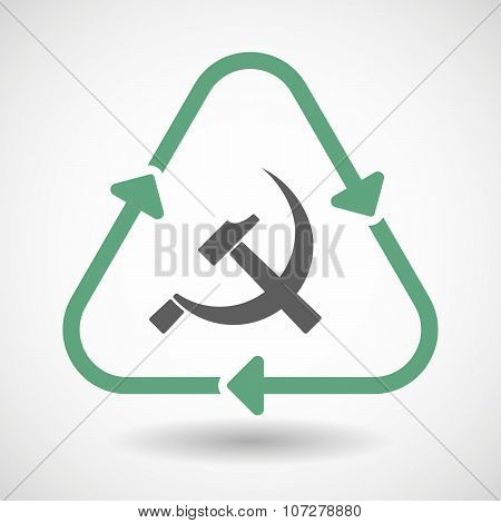 Line Art Recycle Sign Vector Icon With  The Communist Symbol