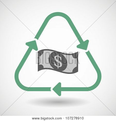 Line Art Recycle Sign Vector Icon With A Dollar Bank Note