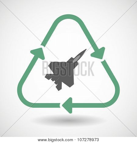 Line Art Recycle Sign Vector Icon With A Combat Plane