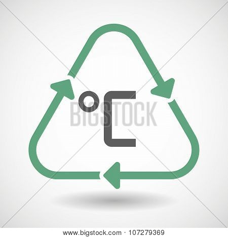 Line Art Recycle Sign Vector Icon With  A Celsius Degree Sign