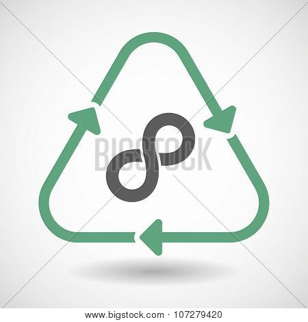 Line Art Recycle Sign Vector Icon With An Infinite Sign