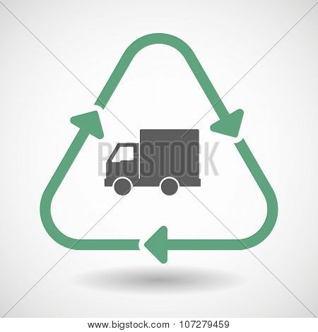 Line Art Recycle Sign Vector Icon With A  Delivery Truck