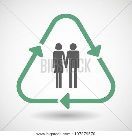 Line Art Recycle Sign Vector Icon With A Heterosexual Couple Pictogram
