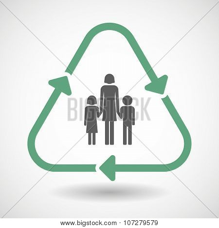 Line Art Recycle Sign Vector Icon With A Conventional Family Pictogram