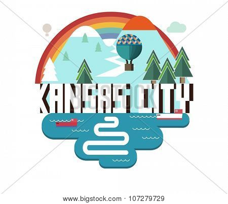 Kansas city logo in colorful vector