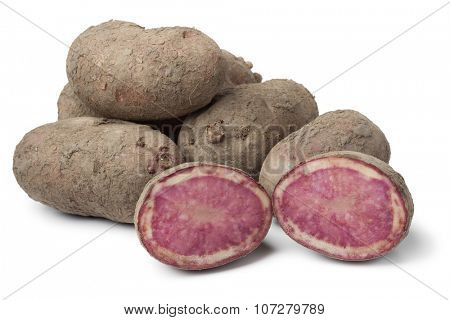 Fresh raw Highland Burgundy Red potatoes on white background