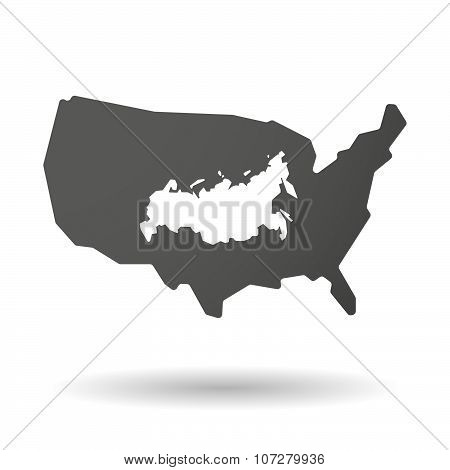 Isolated Usa Vector Map Icon With  A Map Of Russia