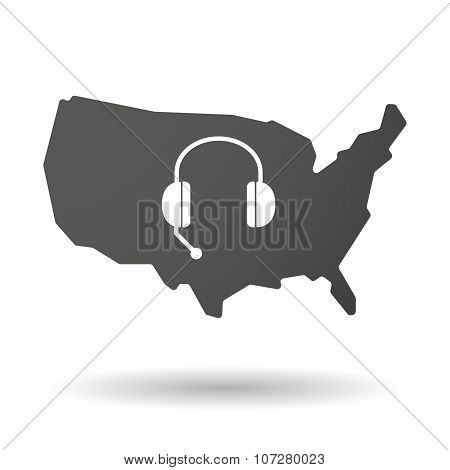 Isolated Usa Vector Map Icon With  A Hands Free Phone Device