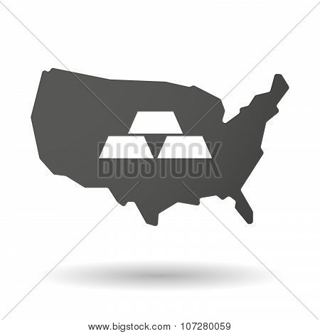 Isolated Usa Vector Map Icon With Three Gold Bullions