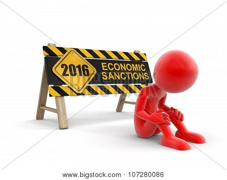 Economic sanctions sign and man