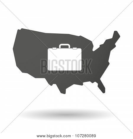 Isolated Usa Vector Map Icon With  A Breiefcase