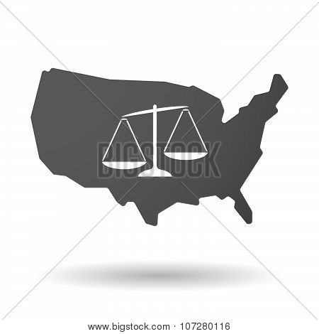 Isolated Usa Vector Map Icon With  An Unbalanced Weight Scale