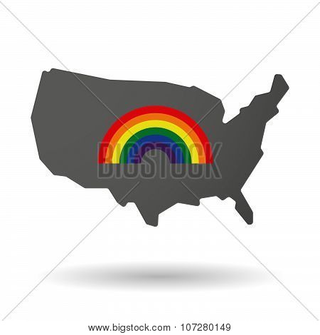 Isolated Usa Vector Map Icon With A Rainbow