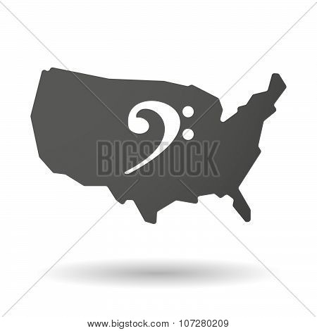 Isolated Usa Vector Map Icon With An F Clef