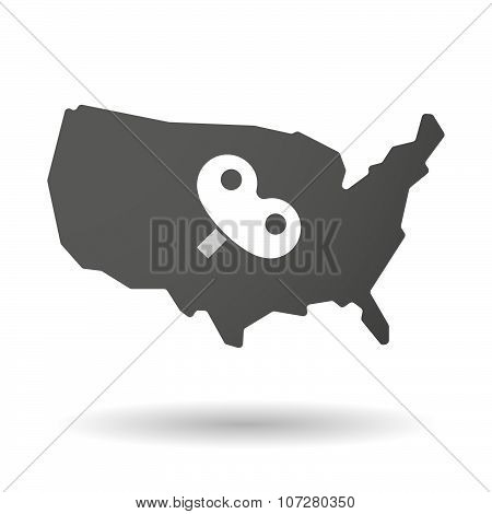 Isolated Usa Vector Map Icon With A Toy Crank